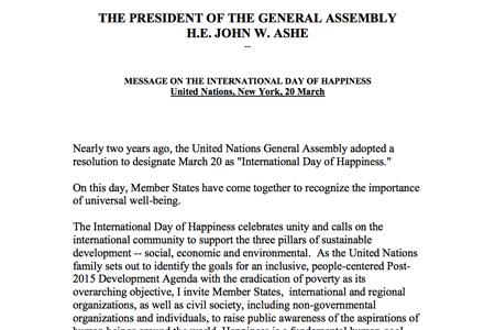UN President's 2014 IDoH Message